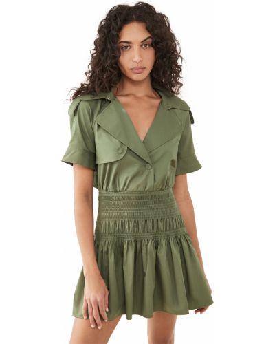 Зеленое платье мини с короткими рукавами стрейч Self-portrait
