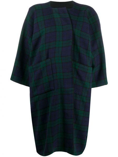 Зеленое шерстяное пальто в клетку Daniela Gregis