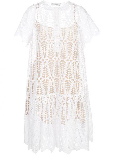 Платье мини на пуговицах в рубчик Oscar De La Renta