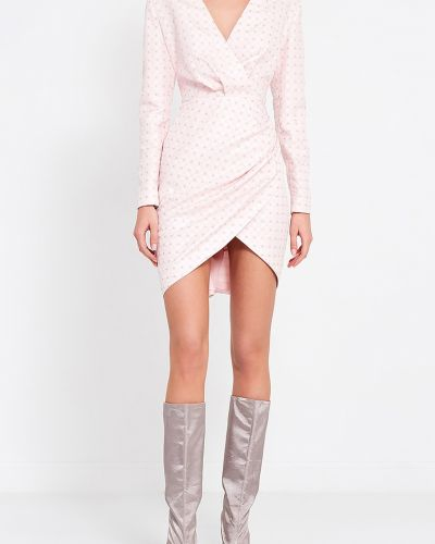Шелковое розовое платье-футляр с запахом A La Russe