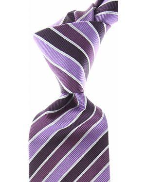 Fioletowy krawat w paski z jedwabiu Isaia