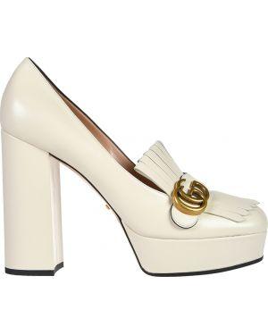 Кожаные туфли - бежевые Gucci