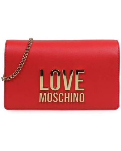 Żółta złota sprzęgło na łańcuchu Love Moschino