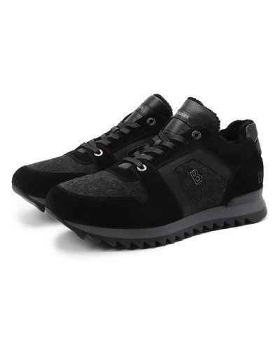 Комбинированные серые кожаные кроссовки Bogner
