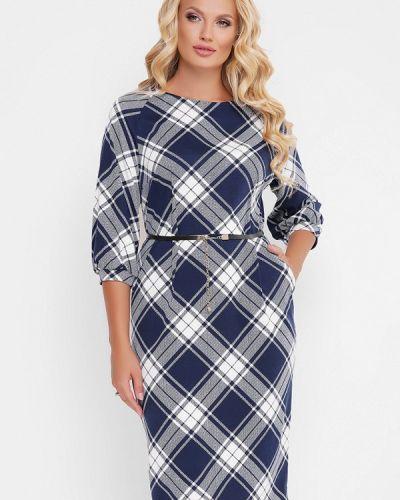 Деловое платье осеннее синее Vlavi