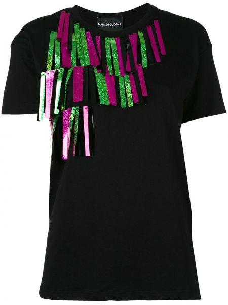 Czarny t-shirt bawełniany Marco Bologna
