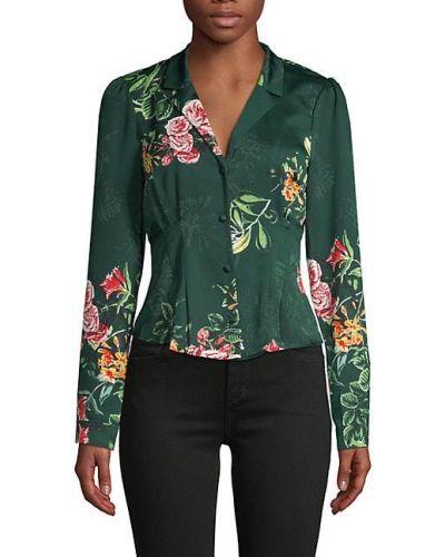 Зеленая с рукавами блузка винтажная Bcbgeneration
