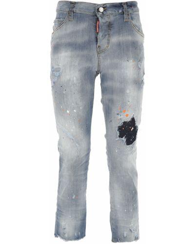 Niebieski bawełna bawełna jeansy do kostek na przyciskach Dsquared