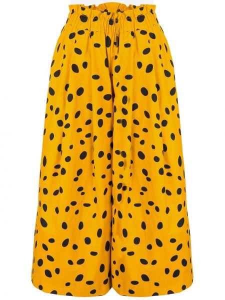 Хлопковые желтые укороченные брюки эластичные Romance Was Born