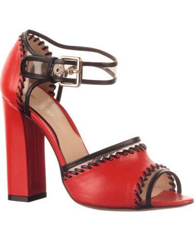 Красные кожаные босоножки Etro