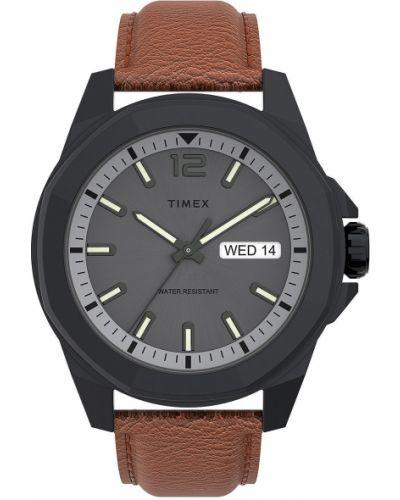 Szary zegarek kwarcowy skórzany z paskiem Timex