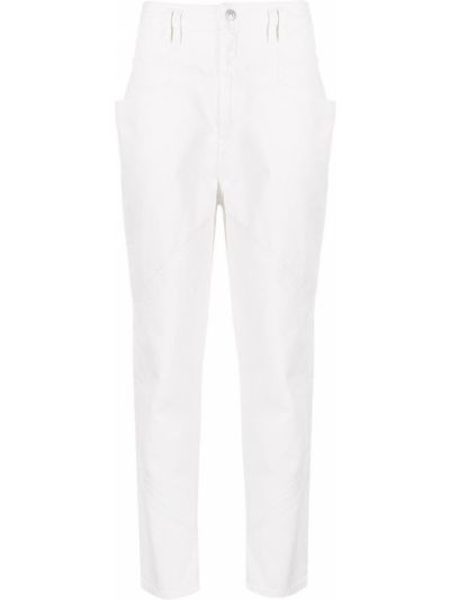Bawełna biały jeansy na wysokości z kieszeniami z łatami Isabel Marant