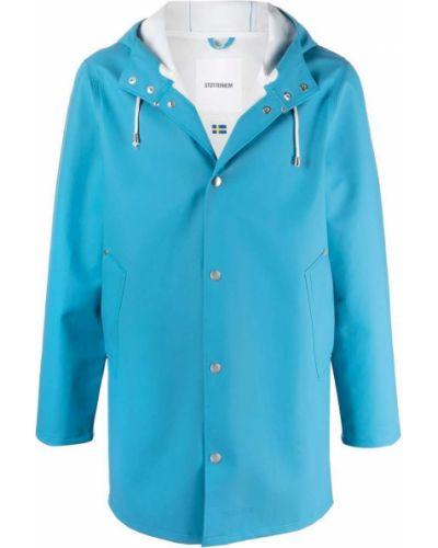 Niebieski płaszcz przeciwdeszczowy z kapturem z długimi rękawami Stutterheim