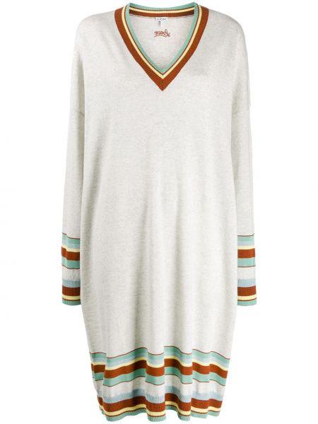 Платье в полоску с V-образным вырезом Loewe