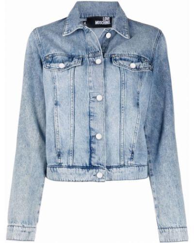 Синяя джинсовая куртка классическая с вышивкой Love Moschino