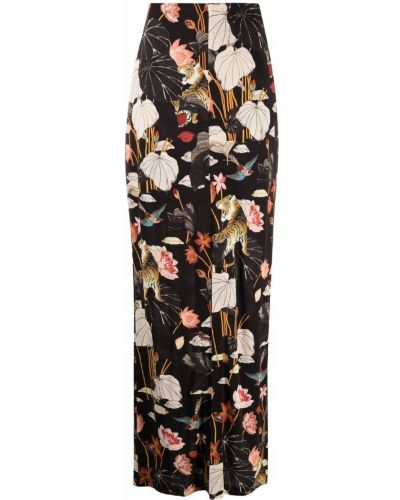 Черная с завышенной талией юбка макси с разрезом Etro