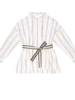 Biała koszula bawełniana w paski Brunello Cucinelli Kids