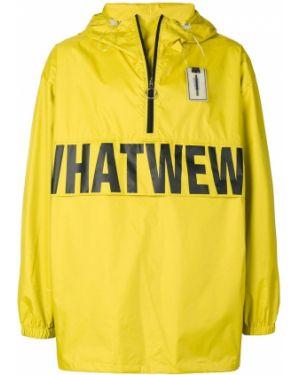 Нейлоновая куртка с капюшоном мятная свободного кроя Wwwm