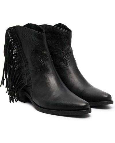 Кожаные черные ботинки на плоской подошве с бахромой Cinzia Araia Kids