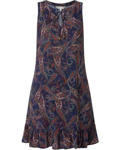 Niebieska sukienka mini rozkloszowana z falbanami Apricot
