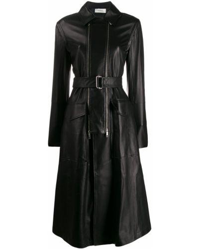 Черное пальто классическое с воротником с поясом Sportmax
