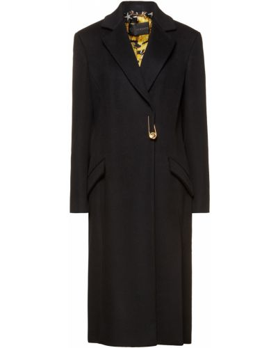 Черное кашемировое пальто с карманами Versace
