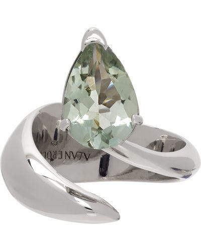 Zielony pierścionek srebrny ametyst Alan Crocetti