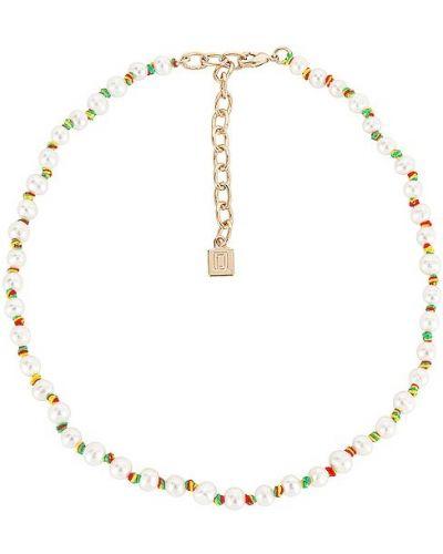 Złoty naszyjnik z pereł - biały Dannijo