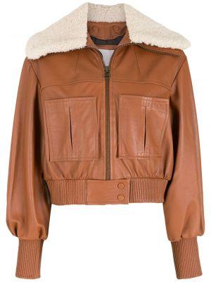 Коричневая кожаная куртка на молнии Nk