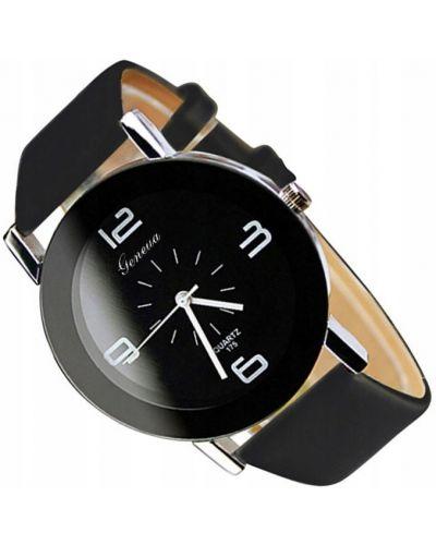 Klasyczny czarny zegarek na skórzanym pasku skórzany Geneva