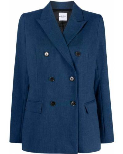 Синий классический пиджак двубортный на пуговицах Roseanna