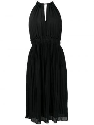 Плиссированное черное платье миди без рукавов Michael Michael Kors