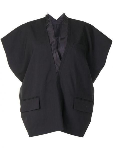 Wełniany z rękawami czarny tunika Sacai
