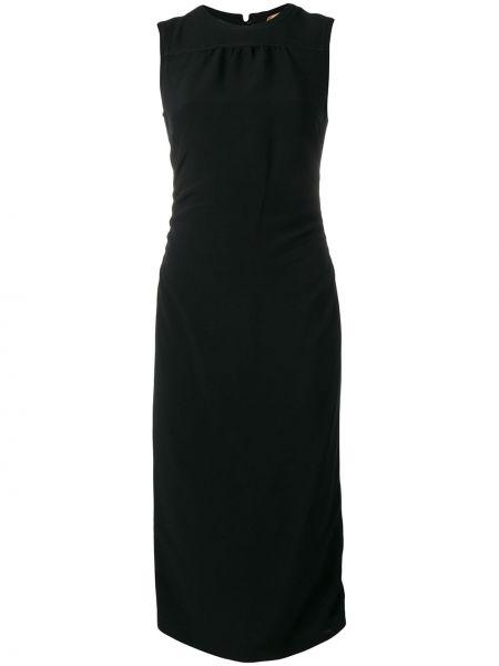 Приталенное черное платье миди N°21
