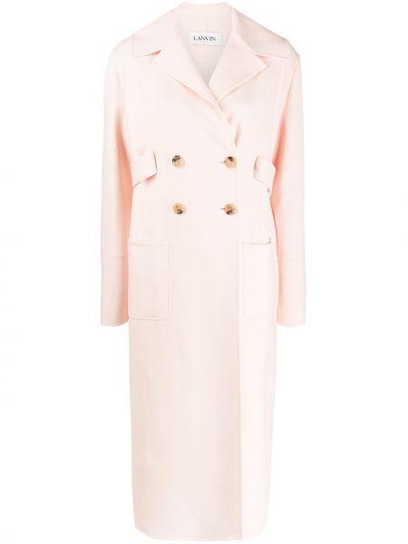 Розовое кашемировое длинное пальто с капюшоном Lanvin