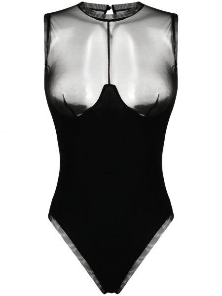 Черное боди с вырезом без рукавов Murmur