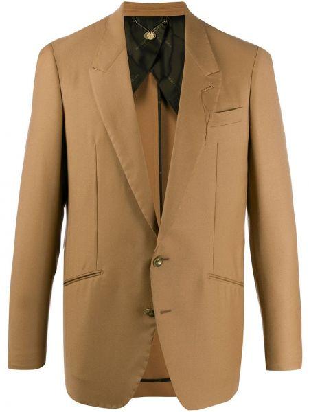 Коричневый деловой пиджак на пуговицах с манжетами Maurizio Miri