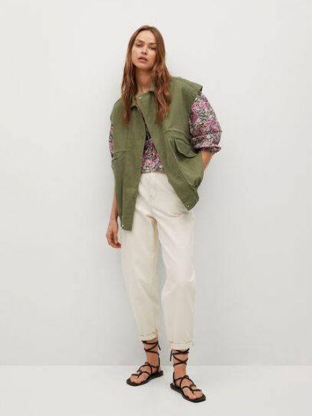 Зеленая жилетка с карманами с воротником Mango