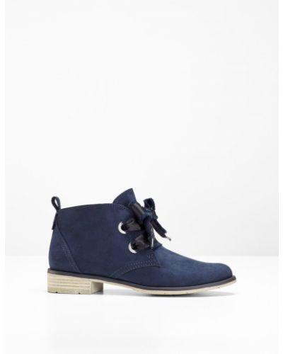 Темно-синие ботинки на шнуровке Bonprix