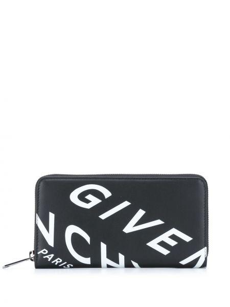 Czarny portfel na monety z kieszeniami z prawdziwej skóry z gniazdem Givenchy