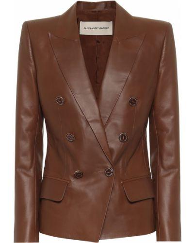 Кожаный коричневый пиджак двубортный Alexandre Vauthier