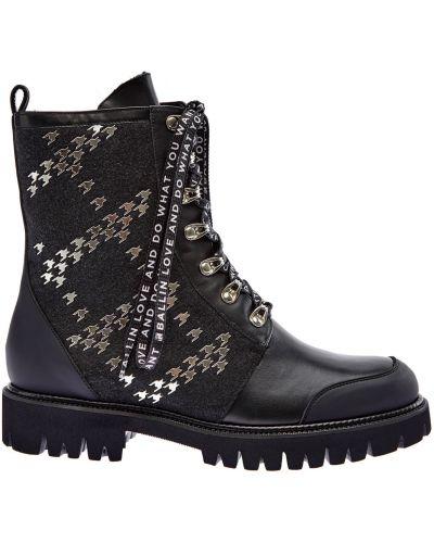 Черные кожаные ботинки на шнуровке Ballin