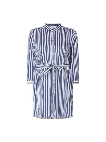 Niebieska bluzka w paski z paskiem Eterna