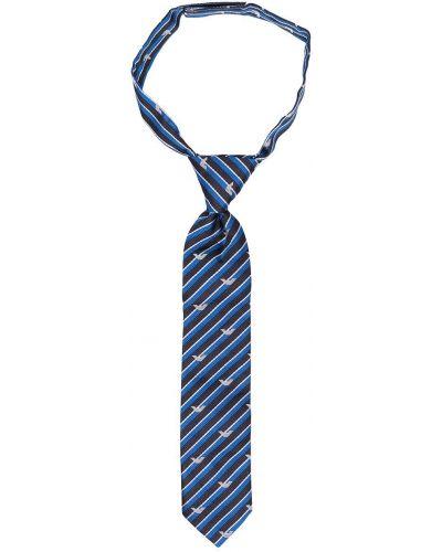 Niebieski krawat w paski z jedwabiu Emporio Armani Kids