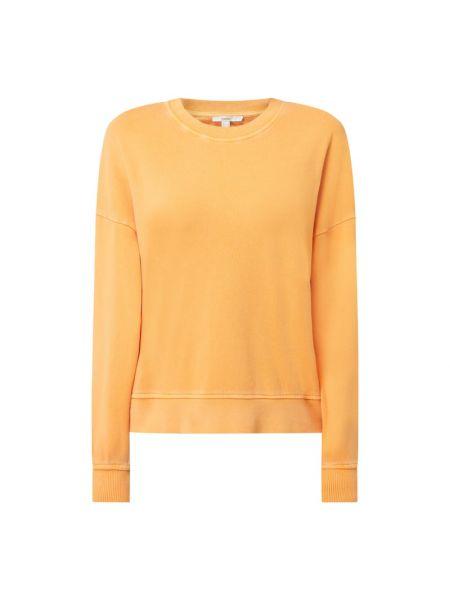 Prążkowana pomarańczowa bluza bawełniana Esprit