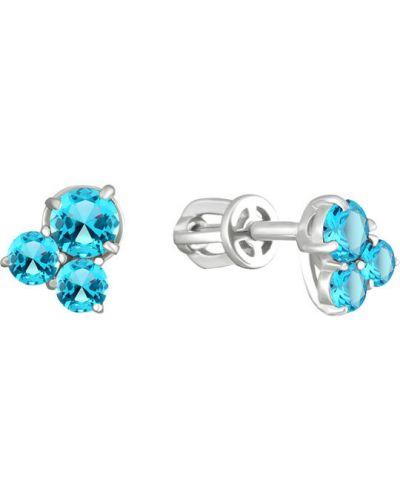 Серьги-гвоздики с топазом серебряные Aquamarine