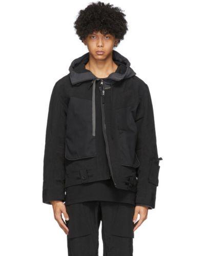 Czarna długa kurtka z kapturem bawełniana Blackmerle
