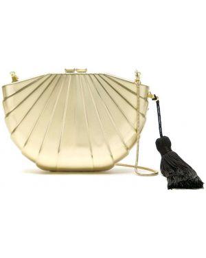 Золотистая желтая сумка на плечо металлическая Isla