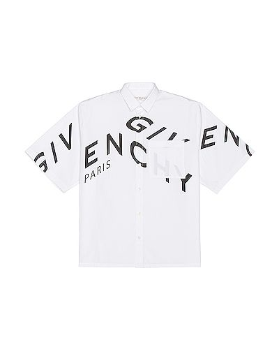 Biała koszula krótki rękaw bawełniana Givenchy