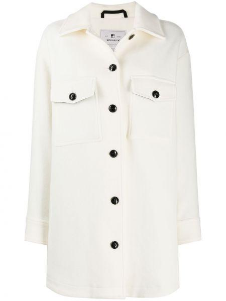 Шерстяное белое пальто классическое с воротником Woolrich